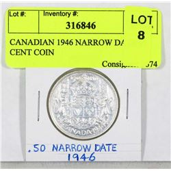 CANADIAN 1946 NARROW DATE 50 CENT COIN