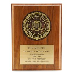 Agent Fox Mulder's (David Duchovny) Fbi 'Technically Trained Agent' Plaque - THE X-FILES (1993 - 200