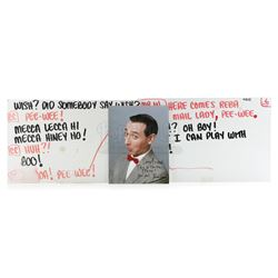 Two Production Pee-Wee Herman (Paul Reubens) Cue Cards and Pee-Wee Signed Photo - PEE-WEE'S PLAYHOUS