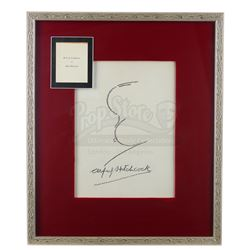 Framed Alfred Hitchcock Autograph and Signature Profile Caricature - ALFRED HITCHCOCK PRESENTS (1955