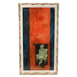 Acrylic Painting Of Old Woman On Hardboard Signed 'Tom Wright' - NIGHT GALLERY (1969 - 1973)