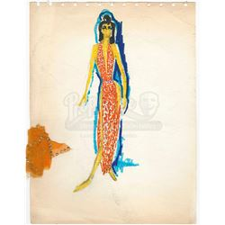 William Ware Theiss Hand-Drawn Costume Sketch With Swatch Of Elaan Of Troyius' (France Nuyen) Gown -