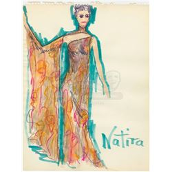 William Ware Theiss Hand-Drawn Costume Sketch Of Natira's (Katherine Woodville) Priestess Gown - STA