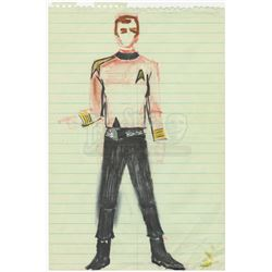 William Ware Theiss Hand-Drawn Costume Sketch Of Uss Enterprise Bridge Uniform - STAR TREK: THE ORIG