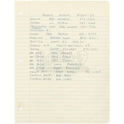 William Ware Theiss' Hand Written List Of Actors and 9 Costume Invoices From 'Mirror, Mirror' - STAR