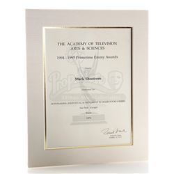 Mark Shostrom's Emmy Nomination Certificate For Outstanding Makeup For A Series 1994-1995 - STAR TRE