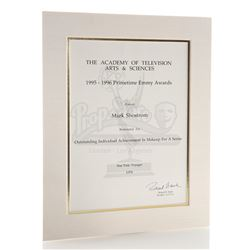 Mark Shostrom's Emmy Nomination Certificate For Outstanding Makeup For A Series 1995-1996 - STAR TRE