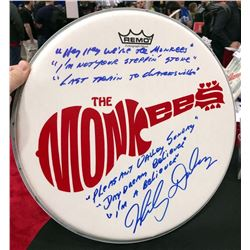 Micky Dolenz Signed Drum Head with Inscribed Monkee's Theme Lyrics