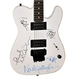 Oasis Band Signed White Knight Electric Guitar