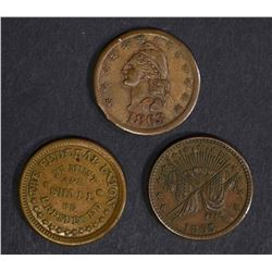 3 CIVIL WAR TOKENS; IT MUST AND SHALL