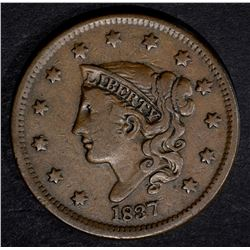 1837 LARGE CENT, VG/F