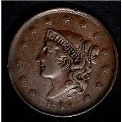 1838 LARGE CENT, VF