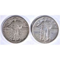 1923 STANDING LIBERTY QUARTERS: 1-VF & 1-XF