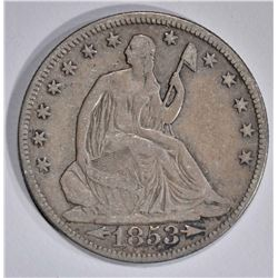 1853 WITH ARROWS & RAYS SEATED HALF DOLLAR, F+