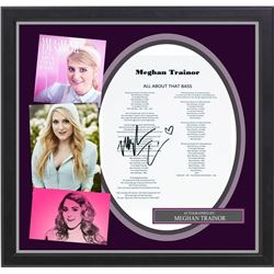 """Meghan Trainor signed """"All About That Bass""""  lyric collage."""