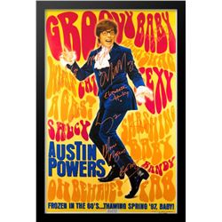 Austin Powers Groovy Baby Cast Signed Movie Poster Framed