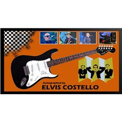 Elvis Costello Signed and Framed Guitar