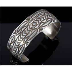Signed Navajo Sterling Silver Carved Bracelet