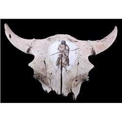 Large Buffalo Skull With Native American Motif
