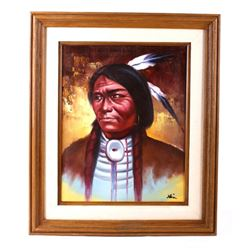 Original Crow Indian Warrior Oil Painting Klein