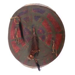 Sioux Polychrome Painted War Shield c. 1860-80