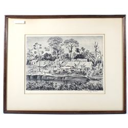 Southeast Indian Village Lithograph By Adolf Dehn