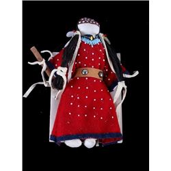 Native American Made Crow Indian Red Dress Doll