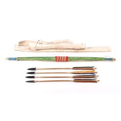 Sioux Indian Child's Bow & Arrow With Quiver 1950s