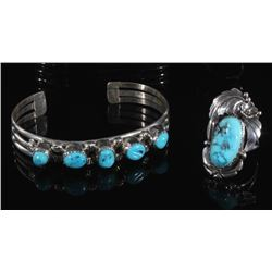 Navajo Turquoise Sterling Silver Bracelet and Ring