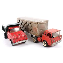 Tonka Dump Truck and Structo Cattle Truck