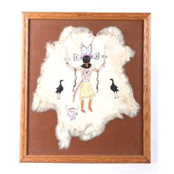 Apache Devil Dance S Harrison Rabbit Hide Painting