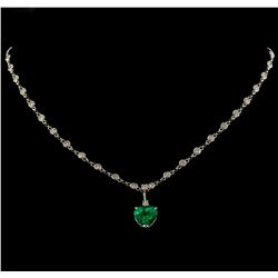 3.82 ctw Emerald and Diamond Pendant With Chain - 14KT White Gold