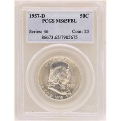 1957-D Franklin Half Dollar Coin PCGS MS65FBL