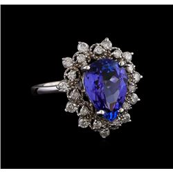 3.42 ctw Tanzanite and Diamond Ring - 14KT White Gold