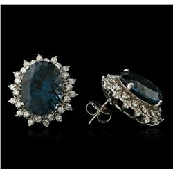 14KT White Gold 17.00 ctw Blue Topaz and Diamond Earrings