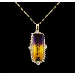 11.93 ctw Ametrine and Diamond Pendant With Chain - 14KT Yellow Gold