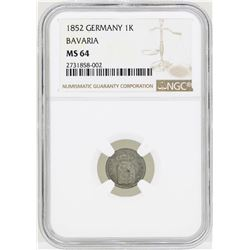 1852 Germany Kreuzer Bavaria Coin NGC MS64