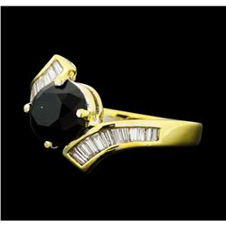 1.40 ctw Black and White Diamond Ring - 14KT Yellow Gold