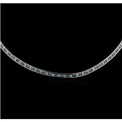 18KT White Gold 5.40 ctw Fancy Blue Diamond Necklace