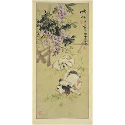 Chinese Watercolor Scroll Puppies Signed by Artist