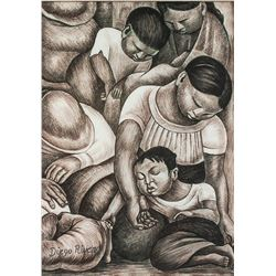Mexican Muralist School Pencil on Paper