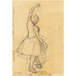 French Graphite on Paper Dancer Signed Degas