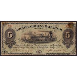 1873 $5 South Carolina Rail Road Company Obsolete Note