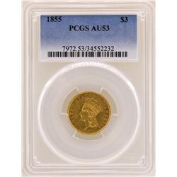 1855 $3 Indian Princess Head Gold Coin PCGS AU53