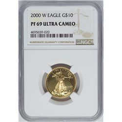 2000-W $10 American Gold Eagle Coin NGC PF69 Ultra Cameo