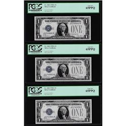 (3) Consecutive 1928A $1 Funnyback Silver Certificate Notes PCGS Gem New 65PPQ