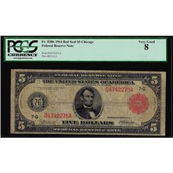 1914 $5 Federal Reserve Note Red Seal Fr.838b PCGS Very Good 8