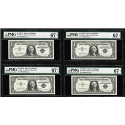 Lot of (4) 1957A $1 Silver Certificate STAR Notes PMG Superb Gem Uncirculated 67