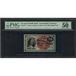 1863 Fifteen Cents Fourth Issue Fractional Currency Note PMG About Uncirculated