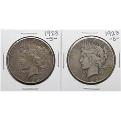 Lot of (2) 1923-S $1 Peace Silver Dollar Coins